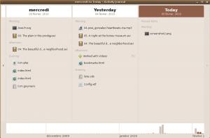 Gnome-activity-journal propose une interface très simple d'utilisation qui a beaucoup évoluée en quelques mois