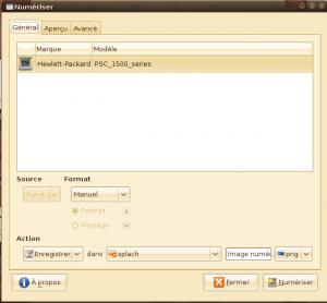 Interface générale de Gnome Scan